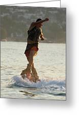 Flyboarder Twisting Upper Body Just Above Waves Greeting Card
