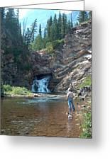 Flyfishing At Trick Falls In Glacier National Park Greeting Card