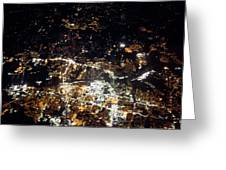 Flying At Night Over Cities Below Greeting Card