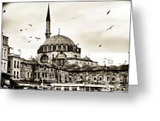 Flying Over The Mosque Greeting Card