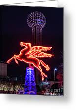 Flying Pegasus And Reunion Tower Night Greeting Card