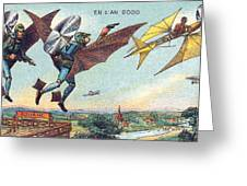 Flying Policemen, 1900s French Postcard Greeting Card