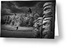 Flying Ravens And Totem Poles In Black And White Greeting Card