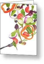 Flying Salad Greeting Card