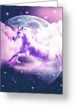 Flying Space Galaxy Unicorn Greeting Card