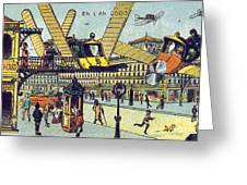 Flying Taxicabs, 1900s French Postcard Greeting Card