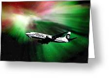 Flying Through Aurora  Greeting Card