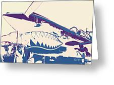 Flying Tiger Blue Purple  Greeting Card