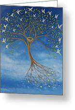 Flying Tree Greeting Card by Tone Aanderaa