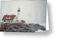 Fog Approaching Portland Head Light Greeting Card