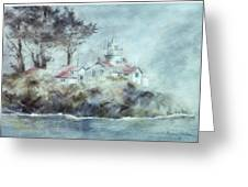 Fog At Batterypoint Lighthouse Greeting Card