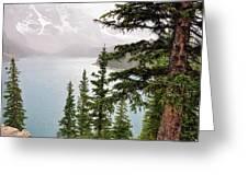 Fog Going Down At Lake Moraine Greeting Card