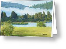 Fog On The Road To Mccall Greeting Card