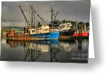 Fog Over Ucluelet Fishing Port Greeting Card