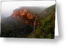 Fog Sunrise And Waterfalls Greeting Card