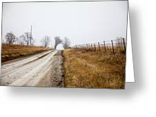Foggy Country Road Greeting Card