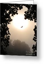 Foggy Heron Flight Greeting Card
