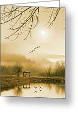 Foggy Lake And Three Couple Of Birds Greeting Card