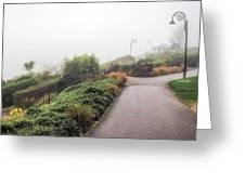 Foggy Langmoor Gardens - Lyme Regis Greeting Card