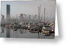 Foggy Marina Morning 2 Greeting Card