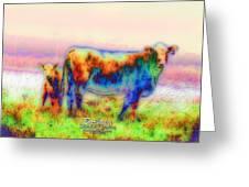 Foggy Mist Cows #0090 Arty Greeting Card