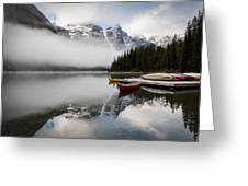 Foggy Morning At Moraine Lake Greeting Card