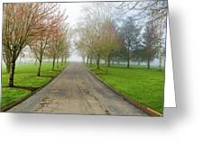 Foggy Morning At The Park Greeting Card