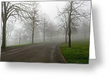 Foggy Morning At The Park Winding Path Greeting Card