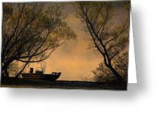 Foggy Morning Fishing Boat Greeting Card