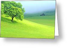 Foggy Morning In The Valley Greeting Card
