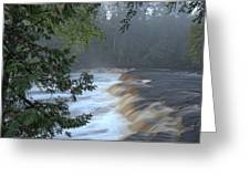 Foggy Morning On Lower Tahquamenon Falls Greeting Card