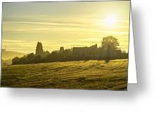 Foggy Morning Over Kennet Village Greeting Card