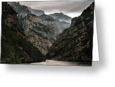 Foggy Mountains Over Neretva Gorge Greeting Card