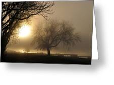 Foggy November Sunrise On The Bay Greeting Card