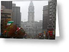 Foggy Philadelphia Greeting Card