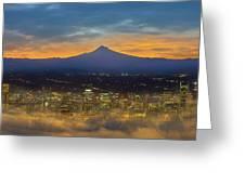 Foggy Portland City Downtown At Dawn Greeting Card