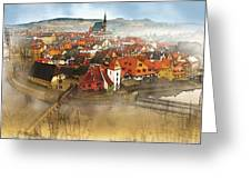Foggy Small Town Greeting Card