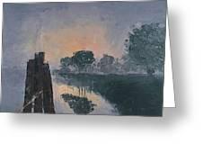 Foggy Sunrise At The Locks Greeting Card