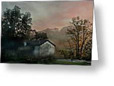 Foggy Sunrise In The Mountains Greeting Card