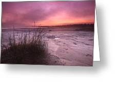Foggy Sunset At Singing Sands Greeting Card