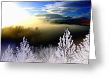 Foggy Winter Sunset Greeting Card