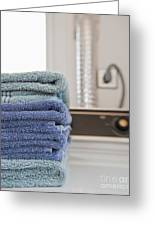 Folded Towels On A Dryer Greeting Card by Thom Gourley/Flatbread Images, LLC