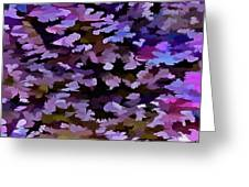 Foliage Abstract In Blue, Pink And Sienna Greeting Card