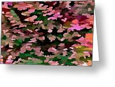 Foliage Abstract In Pink, Peach And Green Greeting Card