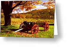 Foliage And Old Wagon Greeting Card