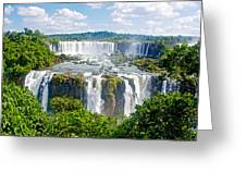 Foliage In And Around Waterfalls In Iguazu Falls National Park-brazil  Greeting Card