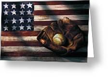 Folk Art American Flag And Baseball Mitt Greeting Card