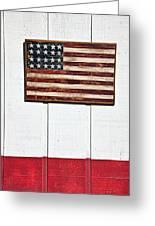 Folk Art American Flag On Wooden Wall Greeting Card by Garry Gay