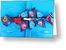 Folk Art Galactic Space Fish Greeting Card