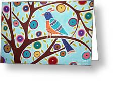 Folk Bird In Tree Greeting Card